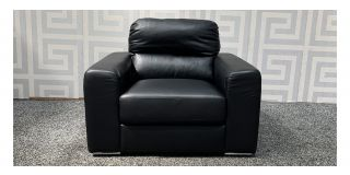 Naples Black Bonded Leather Armchair With Chrome Legs Ex-Display Showroom Model 48104