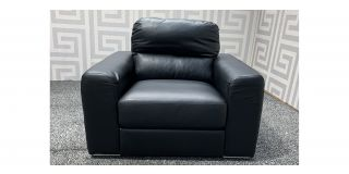 Naples Black Bonded Leather Armchair With Chrome Legs Ex-Display Showroom Model 48105