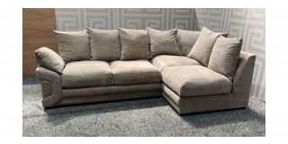 Rio Beige RHF Fabric Corner Sofa With Scatter Back Ex-Display Showroom Model 48107