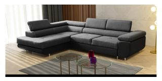 Grey LHF Velour Fabric Corner Sofabed With Ottoman Storage And Adjustable Headrests And Chrome Legs