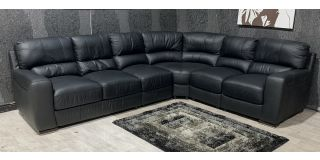 Lucca Black RHF Leather Corner Sofa Sisi Italia Semi-Aniline With Wooden Legs - Few Scuffs (see images) Ex-Display Showroom Model 48110