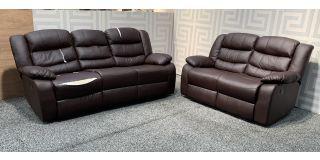 Brown Bonded Leather 3 + 2 Sofa Set Manual Recliner - 3 Seater Tears - Left Seat Frame Gap - 2 Seater Marks On Top Back (see images) Ex-Display Showroom Model 48116