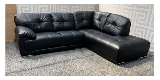 Alexis Black RHF Bonded Leather Corner Sofa With Chrome Legs - Few Scuffs (see images) Ex-Display Showroom Model 48120