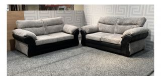 Houston Grey And Black Fabric 2 + 2 Sofa Set With Wooden Legs Ex-Display Showroom Model 48121