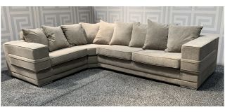 Kudos Beige LHF Fabric Corner Sofa With Scatter Back And Chrome Legs Ex-Display Showroom Model 48122