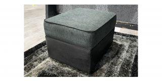 Black And Grey Fabric Storage Footstool Footstool Ex-Display Showroom Model 48123