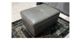 Sisi Italia Grey Semi Aniline Footstool With Wooden Legs Ex-Display Showroom Model 48125