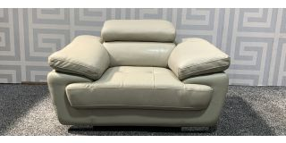 Valencia Cream Leather Armchair With Adjustable Headrest And Chrome Legs - Scuff On Front Right Arm (see images) Ex-Display Showroom Model 48127