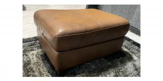 Sisi Italia Brown Colour Faded Semi Aniline Footstool With Wooden Legs Ex-Display Showroom Model 48128