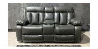 Somerton Grey Leathaire Regular Sofa Manual Recliner With Drinks Holder Ex-Display Showroom Model 48130