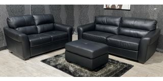 Capri Black Leather 3 + 2 + Footstool Sisi Italia Semi-Aniline With Wooden Legs Ex-Display Showroom Model 48131