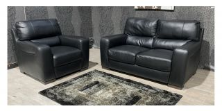 Lucca Black Leather 2 + 1 Sofa Set Sisi Italia Semi-Aniline With Wooden Legs Ex-Display Showroom Model 48132