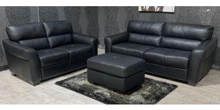 Capri Black Leather 3 + 2 + Footstool Sisi Italia Semi-Aniline With Wooden Legs Ex-Display Showroom Model 48133