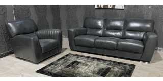 Grey Leather 3 + 1 Sofa Set Sisi Italia Semi-Aniline With Wooden Legs And Contrast Stitching - Colour Faded (see images) Ex-Display Showroom Model 48134