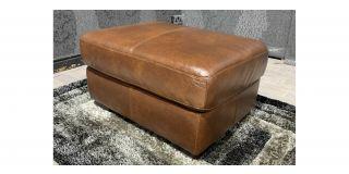 Brown Sisi Italia Semi Aniline Footstool With Wooden Legs Ex-Display Showroom Model 48137