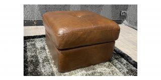 Brown Square Sisi Italia Semi Aniline Footstool With Storage Ex-Display Showroom Model 48138