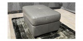 Grey Sisi Italia Semi Aniline Footstool Ex-Display Showroom Model 48139