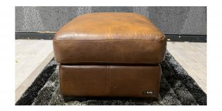 Brown Sisi Italia Semi Aniline Footstool With Wooden Legs - Colour Faded (see images) Ex-Display Showroom Model 48141