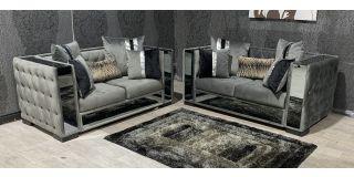Valentino 2+2 Grey Plush Velvet Sofa Set With Mirror Detail And Animal Print Cushions Ex-Display Showroom Model 48142