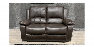 Brown Bonded Leather Regular Sofa Manual Recliner - Few Scuffs (see images) Ex-Display Showroom Model 48143