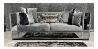 Valentino Grey Large Plush Velvet Mirrored Fabric Sofa - Right Arm Top Smashed (see images) Ex-Display Showroom Model 48144