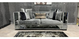 Valentino Grey Large Fabric Sofa - Smashed Glass On Front Left Lower And Front Left Arm Panels (see images) Ex-Display Showroom Model 48145