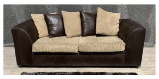Dylan Brown Large Fabric Sofa With Scatter Back Cushions Ex-Display Showroom Model 48148