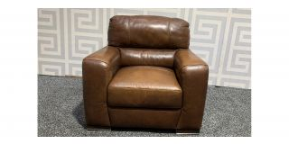 Lucca Brown Leather Armchair Sisi Italia Semi-Aniline With Wooden Legs Ex-Display Showroom Model 48174