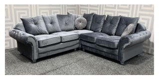 Knightsbridge Grey 2C2 Fabric Corner Sofa With Scatter Back And Wooden Legs Ex-Display Showroom Model 48195
