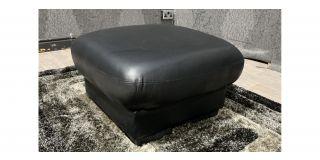 Black Bonded Leather Square Footstool Ex-Display Showroom Model 48219