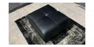 Alexis Black Bonded Leather Footstool Ex-Display Showroom Model 48222