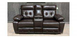 Prada Brown Leathaire Regular Sofa Manual Recliner With Drinks Holder Ex-Display Showroom Model 48224