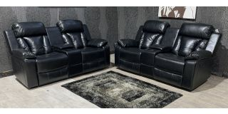 Somerton Black Bonded Leather 2 + 2 Sofa Set Manual Recliner With Drinks Holder Ex-Display Showroom Model 48226