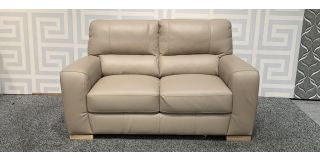 Lucca Camel Regular Leather Sofa Sisi Italia Semi-Aniline With Wooden Legs Ex-Display Showroom Model 48237