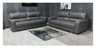 Lucca Grey Leather 4 + 4 Sofa Set Sisi Italia Semi-Aniline With Wooden Legs Ex-Display Showroom Model 48248