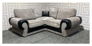 Tango 1C1 Grey And Black Fabric Corner Sofa Ex-Display Showroom Model 48257