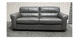 Capri Grey Large Leather Sofa Sisi Italia Semi-Aniline With Plastic Legs Ex-Display Showroom Model 48263
