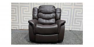 Brown Bonded Leather Armchair Manual Recliner Ex-Display Showroom Model 48275