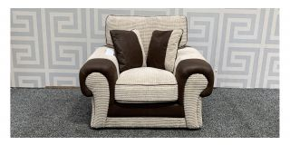 Tango Brown And Cream Round Armed Fabric Armchair Ex-Display Showroom Model 48294