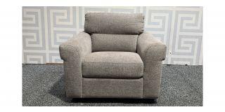 Beige Round Arm Fabric Armchair Ex-Display Showroom Model 48345