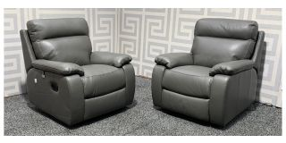 Grey 1 + 1 New Trend Electric Semi Aniline Leather Recliner Armchairs Ex-Display Showroom Model 48350