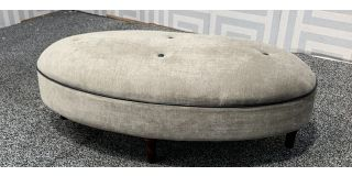 Sapphire Fernando Mink Buttoned Footstool With Wooden Legs Ex-Display Showroom Model 48362