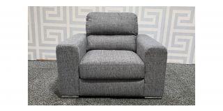 Pisa Grey Fabric Armchair With Chrome Legs Ex-Display Showroom Model 48389