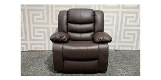 Roma Brown Bonded Leather Armchair Manual Recliner Ex-Display Showroom Model 48390