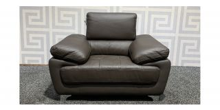 Valencia Brown Leather Armchair With Chrome Legs And Adjustable Headrest Ex-Display Showroom Model 48404