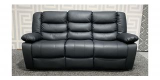 Roma Black Bonded Leather Large Sofa Manual Recliner With Drinks Holder Ex-Display Showroom Model 48413