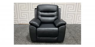 Romano Black Leather Armchair Manual Recliner Ex-Display Showroom Model 48416