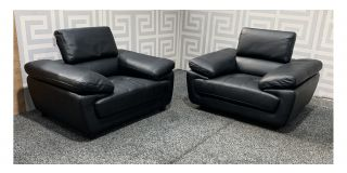 Valencia Black Leather 1 + 1 Armchairs With Adjustable Headrests Ex-Display Showroom Model 48420