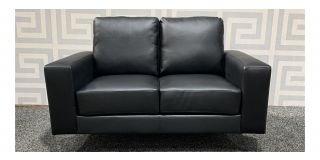 Oregon Black Bonded Leather Regular Sofa With Chrome Legs Ex-Display Showroom Model 48423