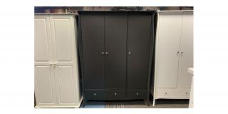Roque Black 3 Door 2 Drawer Wardrobe Clerance 48462-DW